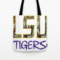 decal Tote Bags featuring LSU NEW DECAL by The Greedy Fox
