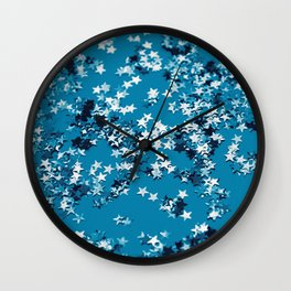Blue Ocean Glitter Stars #1 #shiny #decor #art #society6 Wall Clock