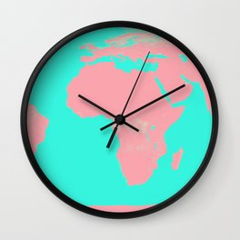 Undistorted World Map Pink Aqua Wall Clock