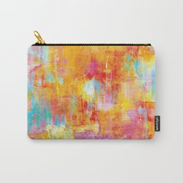 OFF THE GRID Colorful Pastel Neon Abstract Watercolor Acrylic Textural Art Painting Nature Rainbow  Carry-All Pouch