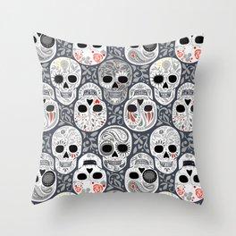 Celebracion de Gris_Sugar Skulls_Calaveras_Repeat_RobinPickens Throw Pillow