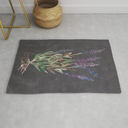 Lavandula dark blackground Rug