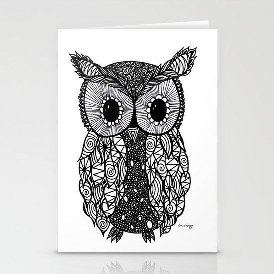 crazy owl Stationery Cards