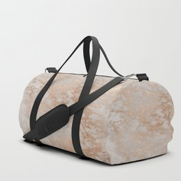 Rose Gold Copper Glitter Metal Foil Style Marble Duffle Bag