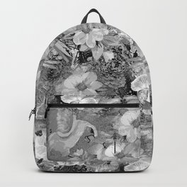 PARROTS MAGNOLIAS ROSES AND HYDRANGEAS TOILE PATTERN IN GRAY AND WHITE Backpack