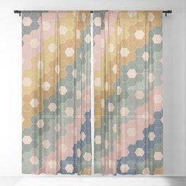 Hexagon Flowers Sheer Curtain
