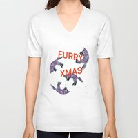 furry V-neck T-shirts featuring Furry xmas by Sil-la Lopez