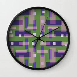 Purple and Green Block City Wall Clock