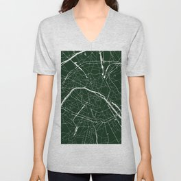 Paris France Minimal Street Map - Forest Green Unisex V-Neck
