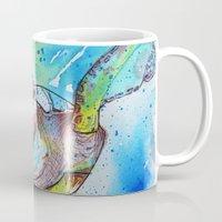 sea turtle Mugs featuring Turtle by Lauren McNee