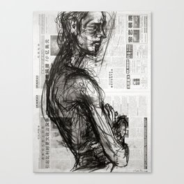 Waiting - Charcoal on Newspaper Figure Drawing Canvas Print