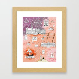 Illustrated Map of Brussels, Belgium Framed Art Print