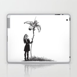 Beautiful young Woman and giant flower Laptop & iPad Skin
