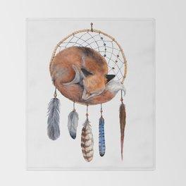 Fox Dreamcatcher Throw Blanket