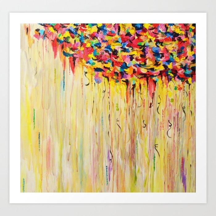 Opposites Love Raining Sunshine Bold Bright Sunny Colorful Rain Storm Abstract Acrylic Painting Art Print By Ebiemporium Society6