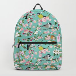 Blossom and Birds Turquoise Print Backpack