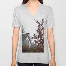 Autumn Crabapples and Old House Unisex V-Neck
