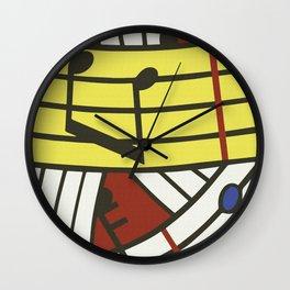 Musical notes pop art digitally repainted R. Lichtenstein for home decoration Wall Clock