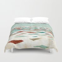 people Duvet Covers featuring Sea Recollection by Efi Tolia
