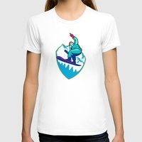 snowboard T-shirts featuring Snowboarder Holding Snowboard Alps Retro by patrimonio