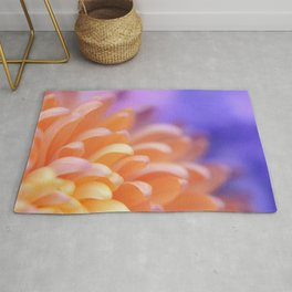 Flower Sunrise | cute pastel flower, peach flowers, orange floral pattern, pretty petals, macro Rug
