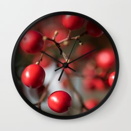 Red Winter Berries, Christmas Cranberries Wall Clock