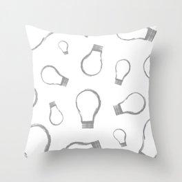 Light Bulb Silver Throw Pillow