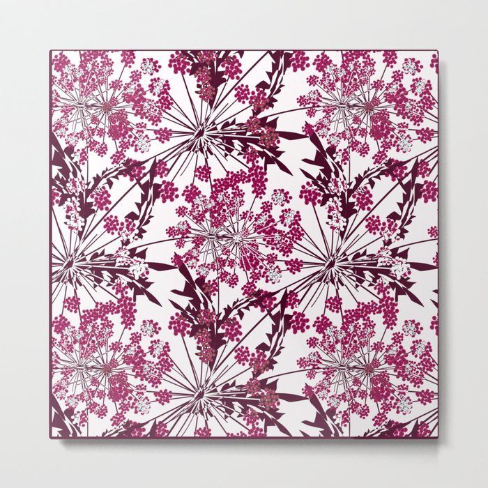 Laced crimson flowers on a white background. Metal Print