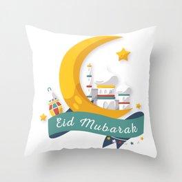 Eid Mubarak design for kids, Ramadan Kareem Banner product Throw Pillow