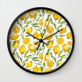 lemon watercolor print Wall Clock