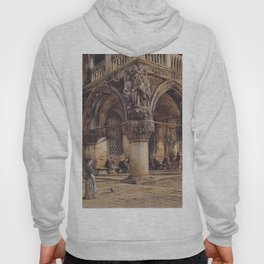 View Of The Ducal Palace In Venice 1874 by Rudolf von Alt | Reproduction Hoody