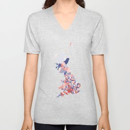 Patriotic Great Britain Map Print Abstract in Red White and Blue a great talking piece for the home! Unisex V-Neck