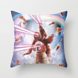 Laser Eyes Space Cat Riding Sloth, Dog - Rainbow Throw Pillow