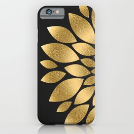 Pretty gold faux glitter abstract flower illustration iPhone Case