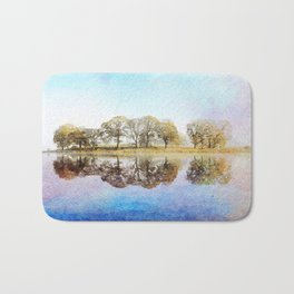 Esthwaite Morning Reflections, Lake District, Cumbria, England. Watercolor Painting. Bath Mat