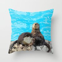 otters Throw Pillows featuring Where the River Meets the Sea Otters by Distortion Art