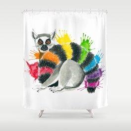 Rainbow Lemur Shower Curtain