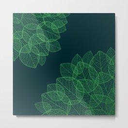 Dry Leaves - Green Metal Print