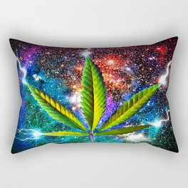 Weed Leaf in Space Rectangular Pillow