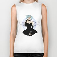 pinup Biker Tanks featuring Goth Pinup by CatAstrophe