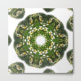 Little White Wildflower Kaleidoscope Art 1 Metal Print