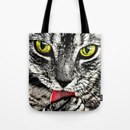 Grooming Tabby Cat Tote Bag