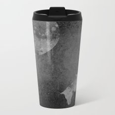 Moon with Horses in Grays Metal Travel Mug