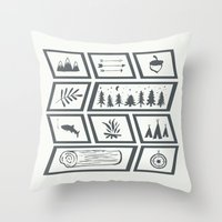camping Throw Pillows featuring Camping by Corina Rivera Designs