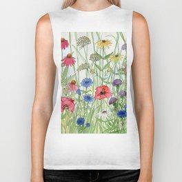 Watercolor of Garden Flower Medley Biker Tank