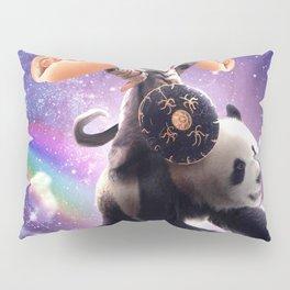 Lazer Warrior Space Cat Riding Panda With Hotdog Pillow Sham