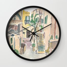 Italy Romantic Remote Street Scene Wall Clock