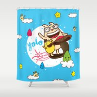 yolo Shower Curtains featuring YOLO by Wackymons