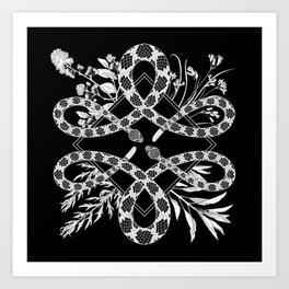 Desert Altar (black) - Rattlesnakes with Native California Herbs Art Print