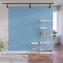 Small Pale Blue & White Herringbone Pattern Wall Mural